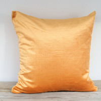 "Designer Pillow COVER, One Velvet pillow case, Decorative Light Orange Custom Deluxe pillow case 18""x18"""