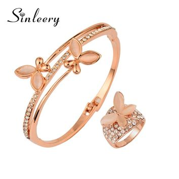 SINLEERY Rare Charm Opal Butterfly Bangle Cuff &Bracelets Rings Set For Women Rose Gold Color Jewelry Set TZ174