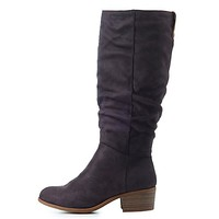 Ruched Almond Toe Riding Boots | Charlotte Russe