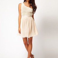 Little Mistress Applique One Shoulder Prom Dress at asos.com