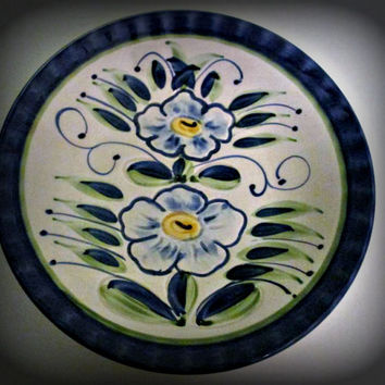 Vintage Claudio Bernini plate Blue Flowers Design Signed Italian Pottery Ceramic, Wall Plate, Floral Design