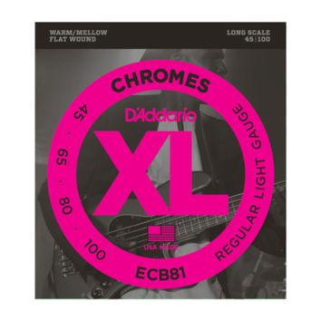 D'Addario ECB81 Chromes Flat Wound Bass Guitar Strings, Light, 45-100, Long Scale
