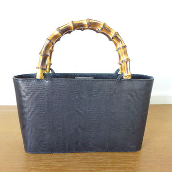 Black Talbots lizard skin purse with bamboo handles, made in Italy