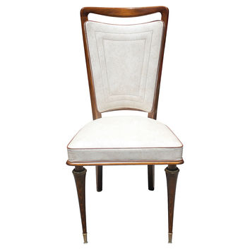 French   Deco Walnut  Dining Chairs, S/6