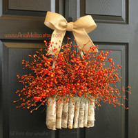 fall wreath fall wreaths for front door fall berry wreaths, year round wreath, pip berry wreaths, home and living, decor housewares