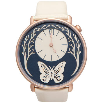 Dial - Rose Gold and Cream Leather Butterfly Watch