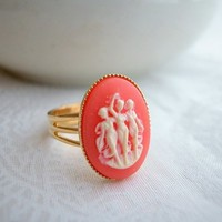 Gold Cameo Ring Carnelian Three Graces Bezel Cup Adjustable Handmade