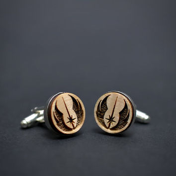 Star Wars cufflinks - JEDI ORDER logo - Maple wood mens cuff links