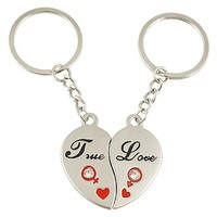 2 Pcs Magnetic Heart Pendant Metal Key Rings Chain for Lover