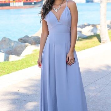 Lilac Gray Maxi Dress with Open Back