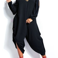 V-Neck Long Sleeve Cut Out Plus Size Jumpsuit