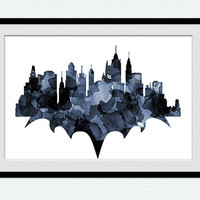 Watercolor Batman print Batman colorful poster Illustration for gift Home decoration Kids room wall art Gotham city skyline print W168