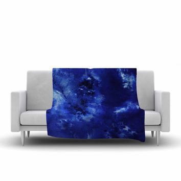 "Nina May ""Saltwater Diamond"" Blue Fleece Throw Blanket"