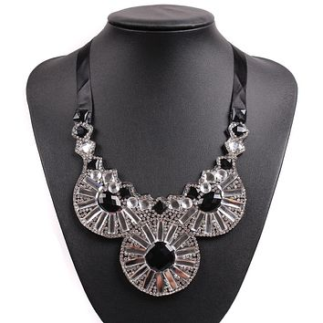 Black Rope Chain Chunky Statement Pendant Necklace Choker For Girls Party Jewelry