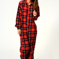 Lacey Checked Supersoft Onesuit