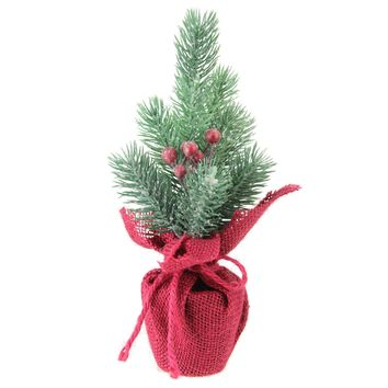 """9.5"""" Frosted Mini Pine Christmas Tree with Berries in Burlap Covered Vase"""