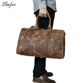 Men's vintage crazy horse leather travel bag Genuine leather travel duffel cowhide large tote bag Large messenger bag
