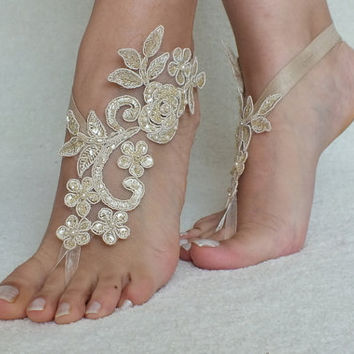 Champagne Beach wedding barefoot sandals, flexible wrist, lace sandals
