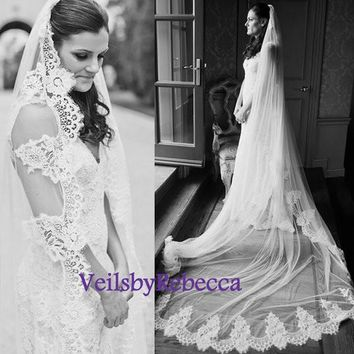 Dramatic Lace Wedding Veil, Lace Bridal Veil, 1 tier cathedral lace veil, ivory/white lace cathedral veil, lace veils V631