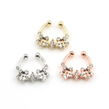 2016 Belly Button Rings Fine Crystal Flower Nose Clip 3pcs/lot Hoop Fake Septum Piercing For Clicker Non Hanger Jewelry Gift