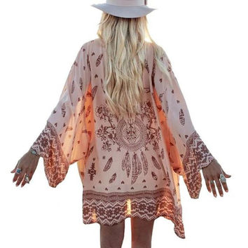 Fashion Women Summer Chiffon Blouse Beach Boho Kimono Cardigan Floral Printed Long Sleeve Casual Loose Long Beach Cover up