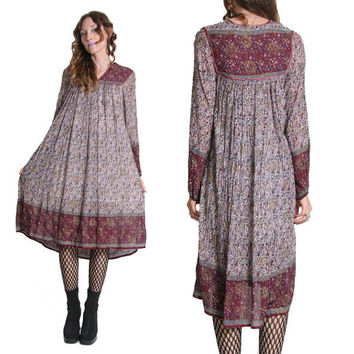 Vintage 70s Indian Cotton Dress - Gauze Cotton Bohemian Dress - India Festival Dress Hippie Boho Gypsy - Gauze Dress - 1970s 70s - Maxi