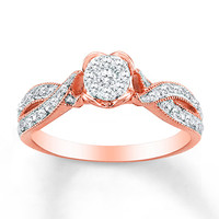 HEARTessence Ring 1/5 ct tw Diamonds 10K Rose Gold