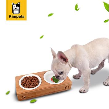 PET Dog Feeders Stainless Steel Dog Bowls Bamboo Rack Ceramic Double Bowl Lovely Pet Food Water Drink Dishes Feeder S/L