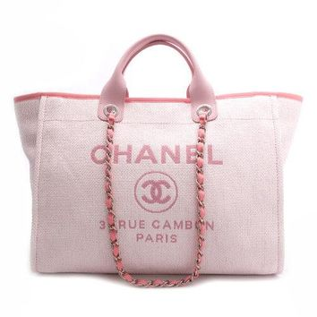 CHANEL Deauville GM 2 Way Tote Chain Bag Shoulder Purse Canvas Pink A66941 Auth