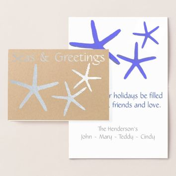 Coastal Seas & Greetings Silver Foil Starfish Card