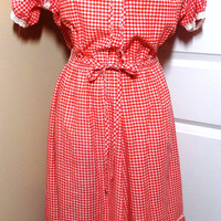 Vintage 1970s Red & White Gingham Dress with Lace Trim - Size Small - Country Farm Look