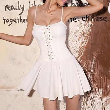 sleeveless deep V-neck Backless dress