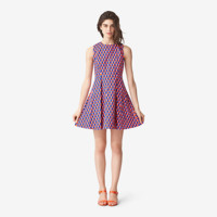 Kate Spade Saturday Pleated Flare Dress In Geo Flag