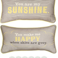 "Manual Woodworkers SHYAMS 2-Pillow Set You Are My Sunshine 17""x9"" with 6-Pack of Tea Candles"