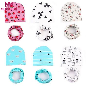 2018 Real Rushed Print Cute Baby Hat For Kids Clothes Matching With Scarf For Children Printed Infant Warm Crochet Knit Dresses