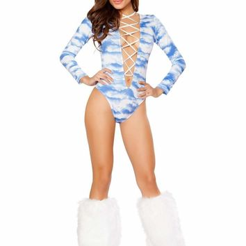 Roma USA Dancewear Printed Lace-up Long Sleeved Romper