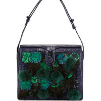 Nancy Gonzalez Crocodile Embellished Shoulder Bag, Navy/Green