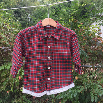 Baby Girl Flannel Shirt, 12 mths Flannel, Baby Flannel w/Lace, Plaid Shirt, Fall Flannel, Flower Girl Flannel, Pageant/Dance Coverup