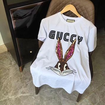 """Gucci"" Unisex Casual Fashion Cartoon Rabbit Sequin Embroidery Letter Print Couple Short Sleeve T-shirt Top Tee"