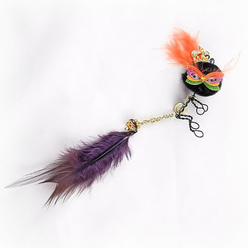 Masked Monster Ear Cuff - Mardi Gras, Crown, Wire Wrap, Critter, Pom Pom, Creature, Feathers - Unique Jewelry for a Unique You