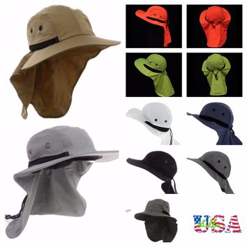 Bucket Bonnie Snap Hat Brim Neck Sun Cover Flap Cap Hunting Fishing Hiking Caps