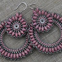 pink earrings, victorian earrings, beaded earrings, hoop earrings, seed beads earrings, beadwoven earrings, beadwork, dangle earrings