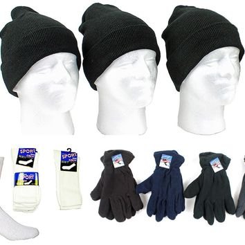 Men's Knit Hats, Fleece Gloves and Crew Socks Comb - CASE OF 180