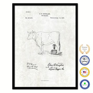 1887 Farming Cow Milker Vintage Patent Artwork Black Framed Canvas Print Home Office Decor Great for Farmer Milk Lover Cattle Rancher