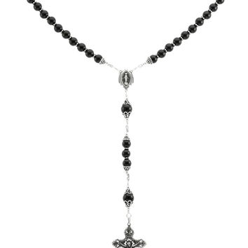 "Sterling Silver Rosary Necklace, Black Onyx 8mm, Crucifix & M. Medal, 28"" Prayer Beads"