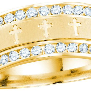 14k Yellow Gold Mens Round Diamond Grecco Christian Cross Wedding Anniversary Band Ring 1.00 Ctw