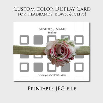 Custom printable bow display card Custom headband display card Retro squares Choose your colors - Printable digital file only