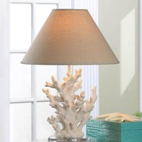 Table Lamp Ivory Sprigs of Coral Neutral Shade Unique Coastal Beach Decor NEW