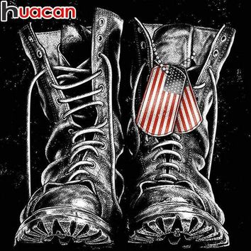 5D Diamond Painting American Solider Boots Kit