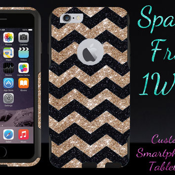 "OtterBox Commuter Series Case for 4.7"" iPhone 6 - Custom Glitter Case for 4.7"" iPhone 6 - Black Small Chevron Gold/Black"